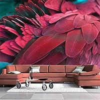 XIAOHUKK 3D自己接着壁紙防水PVCビニールステレオ赤い羽アート壁画壁壁画/自己接着大きな壁紙