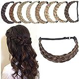 SEGO Diademas Trenzadas Elásticas Mujer Pelo Sintético Se Ve Natural [Castaño Oscuro] Extensiones de Cabello Accesorios Braid Hair Headband (L-3.8cm)