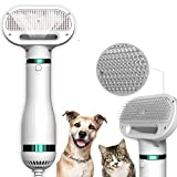 Nunamoat Upgraded 2-in-1 Portable Pet Hair Dryer With Brush,One-Click Hair Removal,3 Heat Settings,Low Noise Home Grooming Hair Brush For Dog And Cat And Small Animals