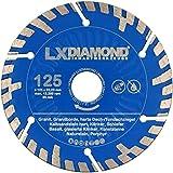 LXDIAMOND, 2 dischi diamantati da 125 mm x 22,23 mm Premium KS, pietra arenaria calcarea dura, granito, pietra naturale, Turbo diamantata per fresatrice a muro da 125 mm