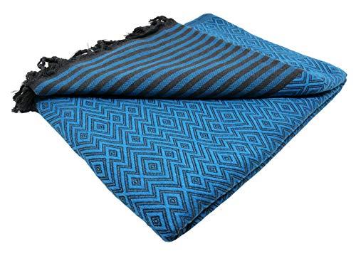Bella Casa KELIM LUX Tagesdecke Bettüberwurf Überwurf Plaid Baumwolle 205x260 cm (Ozean)