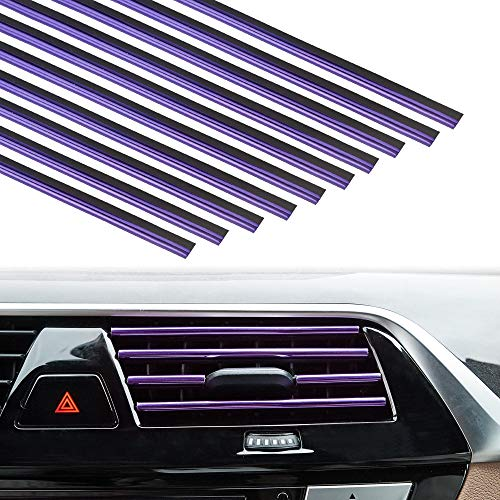 TOMALL Car Interior Moulding Strip,Car Air Outlet Decoration Strip,Flexible Insert Strips for Auto Vent Styling 10pcs (Purple)