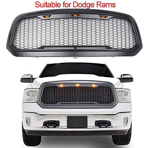 Compatibel met/vervanging voor Radiator Grille Voor De Dodge Ram Grille Repal, De Amerikaanse pickup Truck Is Gewijzigd In Het Net Grille, En Het Abs Materiaal Is Zeer Compatibel Met De Originele Auto Matteblack