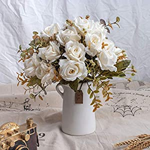 BEGONDIS Aitificial Bouquets Rose Flowers with Ceramic Vase, White Silk Fake Faux Rose Flower Arrangement for Table Centerpiece, Home Office Wedding Decoration