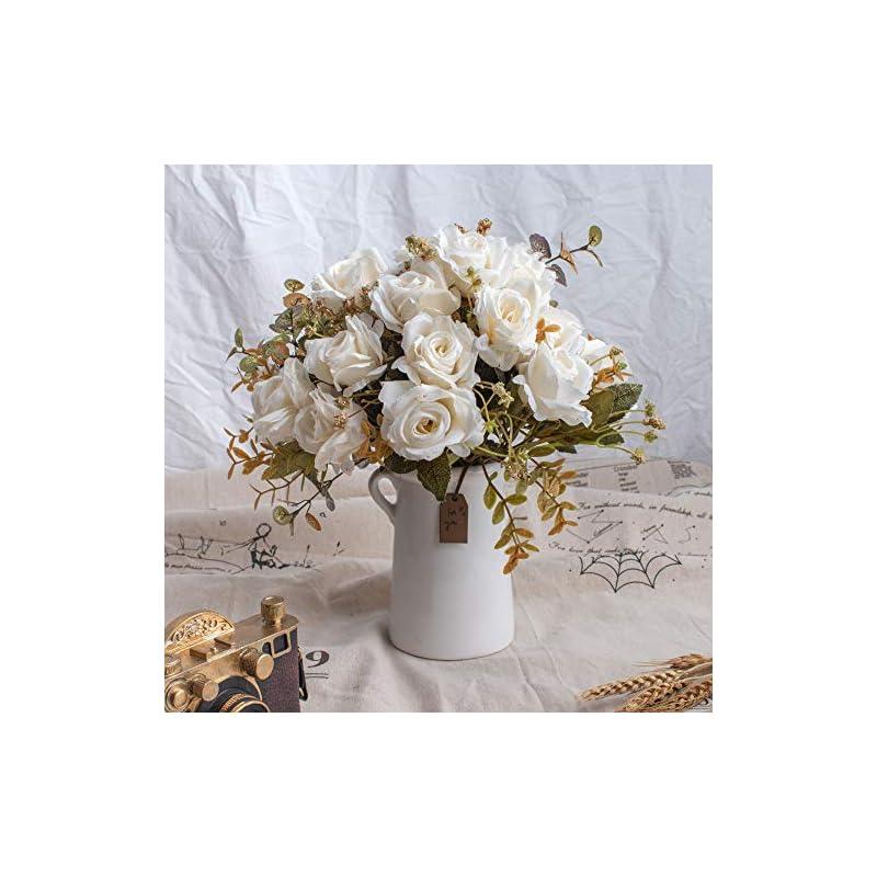 silk flower arrangements begondis aitificial bouquets rose flowers with ceramic vase, white silk fake faux rose flower arrangement for table centerpiece, home office wedding decoration