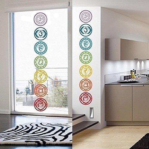 Bangle009 7 unids/set pegatinas de pared de yoga, chakras de PVC de meditación mandala de yoga pegatinas de pared calcomanías de decoración