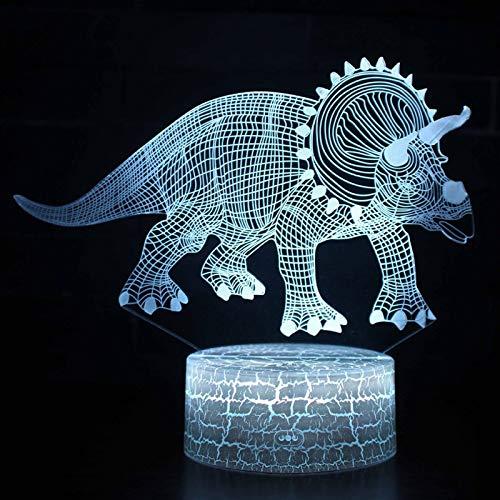 Synchain Dinosaurier Nachtlicht Geschenke, LED Tisch Schreibtisch Lampen, USB-Lade Optische Täuschung Lampe, die Schlafzimmer-Dekoration für Kinder Weihnachten Halloween-Geburtstagsgeschenk Beleuchten