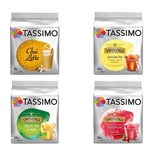 Tassimo Tea Elite - Paquete de discos T-Discs de 4 tipos: Earl Grey, té verde, frutos del bosque, Chai Latte, cápsula,...