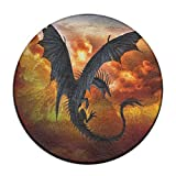 Babies Fantasy Dragon Fire cool-01. PNG Antideslizante Alfombrillas Circular Alfombra Alfombrillas Comedor Dormitorio Alfombra Felpudo 23.6Pulgadas