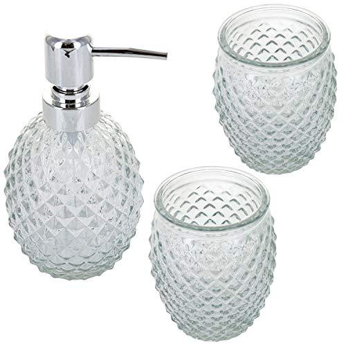 G Decor Juego de accesorios de baño de 3 piezas de cristal...