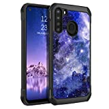 BENTOBEN Galaxy A21 Case, Slim Glow in The Dark Shockproof Drop Protective 2 in 1 Hybrid Hard PC Soft TPU Bumper Cover Nebula Space Design Dual Layer Cute Phone Case for Samsung Galaxy A21, Blue