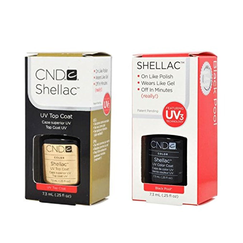 療法カエルベルCND Shellac UVトップコート 7.3m l  &  UV カラーコー< Black Pool>7.3ml [海外直送品]