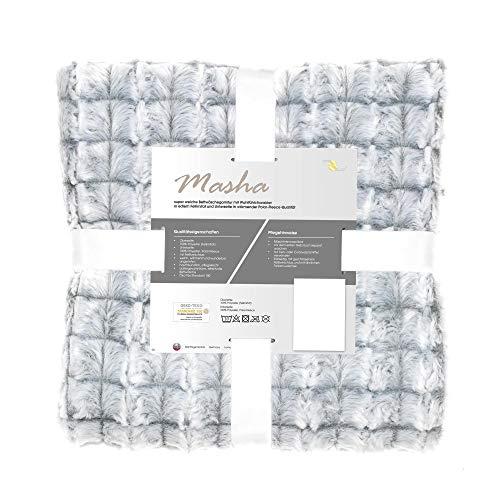 aqua-textil Masha Bettwäsche 135 x 200 cm 2teilig Polar Test Fleece Wendebettwäsche Fellimitat Bezug mit Reißverschluss grau