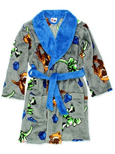 Lego Jurassic World Dinosaur Boys Fleece Bathrobe Robe (10, Grey)