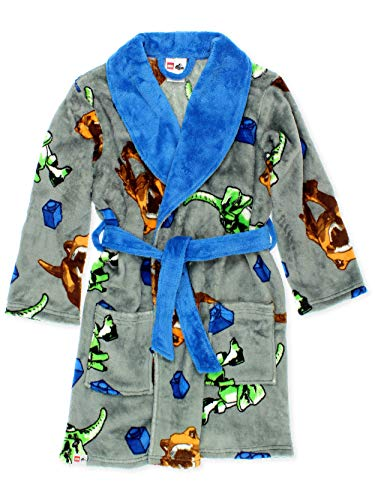 Lego Jurassic World Dinosaur Boys Fleece Bathrobe Robe (10, Grey)