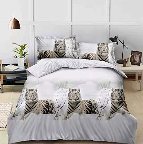 Set completo di biancheria da letto con copripiumino effetto 3D, stampa animale, 4 pezzi