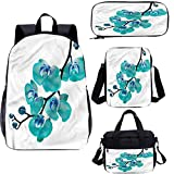 Juego de mochila para adolescentes de 43 cm, diseño de orquídeas florecientes en rama, para trabajo, escuela, viajes, picnic