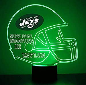 Mirror Magic Light Up LED Lamp - Football Helmet Night Light for Bedroom with Free Personalization - Features Licensed Decal and Remote (Jets (New York))
