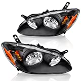 AUTOSAVER88 Headlight Assembly Fit for 2003-2008 Toyota Corolla Black Housing Amber Reflector Clear Lens (Driver & Passenger Side)