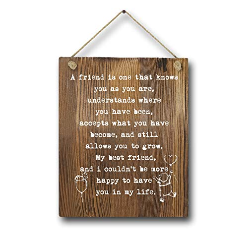 Friend Birthday Gift Winnie The Pooh Rustic Wood Wall Art Decor, 8'x10' Friendship Gifts Wooden Hanging Wall Art Poster, Coworker Gift Maid of Honor Gift Bridesmaid, Child/Boy/Girl/Nur
