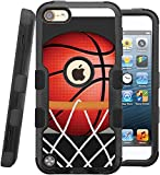 iPod touch 5th / 6th Case, CASECREATOR[TM] For Apple iPod touch 5th / 6th generation () -- NATURAL TUFF Hybrid Rubber Hard Snap-on Case Red Black-BasketBall Hoop