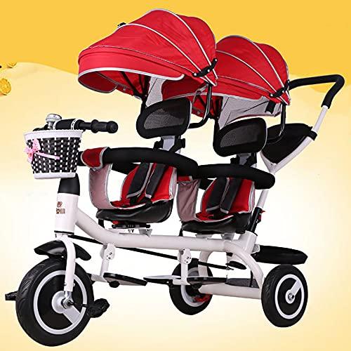 JMCVILOF Passeggino Gemellare, Bicicletta Tandem per Bambini 4 in 1, Cintura di Sicurezza A Cinque Punti, Tendalino Regolabile, Carico 100 kg, per 1-7 Anni,E
