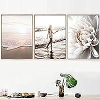 北欧の壁アート絵画海のビーチオーシャンフラワーガールウェーブ引用ポスターとプリント壁の写真リビングルームの装飾(40x60cm)3pcsフレームレス