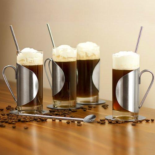 Kompletter Irish Coffee-Glas-Geschenkset mit einem Set von 4 Gläsern, Untersetzern & Rührstäben | bar@drinkstuff Irish Coffee-Gläser 10 Unzen/280ml | Irish Coffee-Set aus Edelstahl, Irish Coffee-Tassen