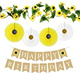 Sunflower Birthday Party Decoration Set - Happy Birthday Banner and Sunflower Vine Garland and 4 Yellow White Paper Fans for Sunflower Theme Birthday Decorations