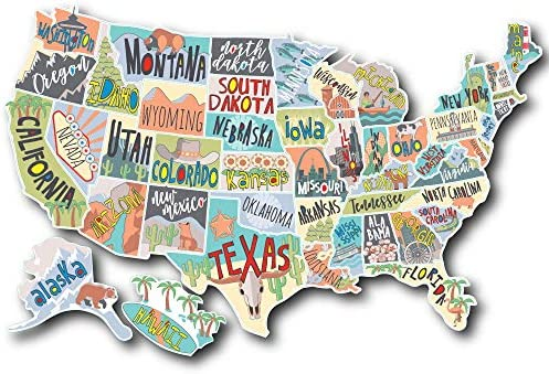 US States Map Travel Tracker Sticker Set United States Adventure Decals RV Motorhome Camper product image