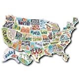 US States Map Travel Tracker Sticker Set | United States Adventure Decals | RV Motorhome Camper or Trailer Accessories | Large 22 x 13 in| Road Trip States Visited USA | Vinyl North America Version 3