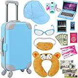 """ZITA ELEMENT 20 Pcs American 18 Inch Boy Doll Suitcase Luggage Travel Set for Boy 18"""" Doll Travel Carrier Storage, Including Suitcase Pillow Blindfold Sunglasses Camera Computer Cell Phone Ipad,ect"""