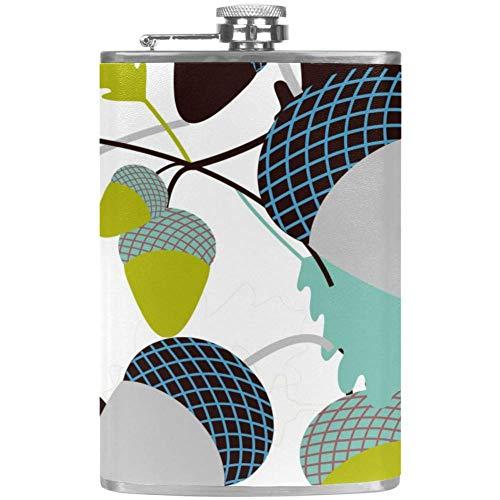 Bennigiry - Petaca para hombre con diseño de bellotas y hojas a prueba de fugas de acero inoxidable para licor
