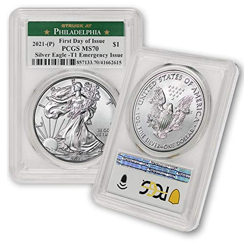 2021 (P) 1 oz American Silver Eagle MS-70 (Struck at Philadelphia - T-1 - Covid Emergency Issue - First Day of Issue) by CoinFolio $1 MS70 PCGS