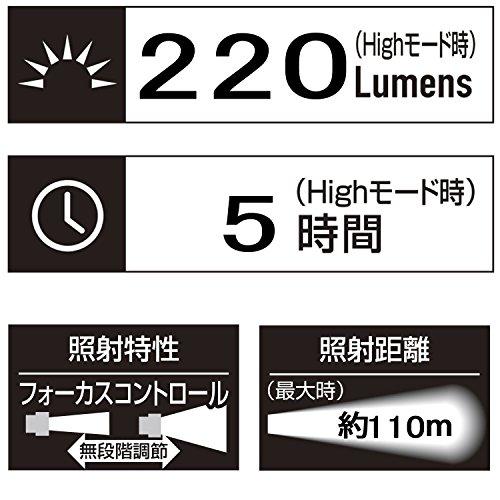 GENTOS(ジェントス)LED懐中電灯【明るさ220ルーメン/実用点灯5時間/防塵・防滴】単3形電池2本使用MGシリーズMG-732DANSI規格準拠転がり防止