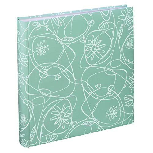Hama Decori II Fotoalbum met 100 witte pagina's, voor 400 foto's in het formaat 10 x 15, bloemenranken patroon, 30 x 30, XXL fotoboek mintgroen