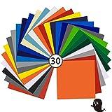 Láminas de Vinilo Permanente, 30PCS Hojas de Vinilo con Reverso Autoadhesivas y Transfer Tape Sheets para Manualidades,Vidrio, Plástico
