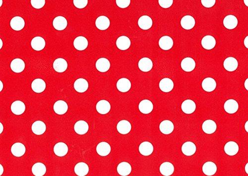 Nappe toile cirée PVC Rectangulaire 140 x 240 cm à pois (Rouge vif)