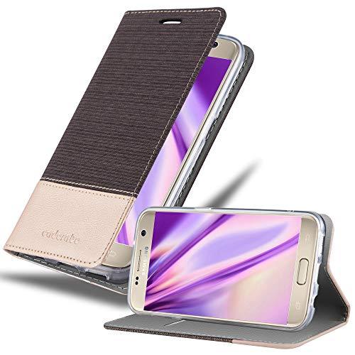 Cadorabo Funda Libro para Samsung Galaxy S7 en Antracita Oro - Cubierta Proteccíon con Cierre Magnético, Tarjetero y Función de Suporte - Etui Case Cover Carcasa