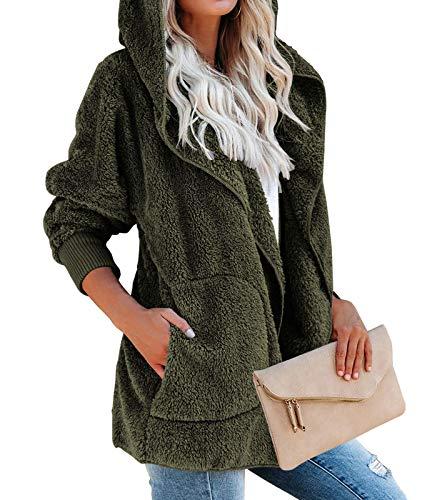 DEMO Damski płaszcz, pluszowa kurtka damska z długim rękawem, płaszcz zimowy, ciepła kurtka z kapturem z kieszeniami outwear