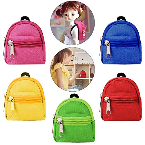 Dolls Backpack,Bageek 5PCS Doll Backpack Doll Accessories Casual Mini Zipper Backpack Doll Accessory Bag for Dolls