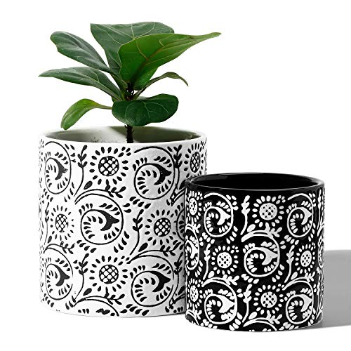Black Planters Pots For Plants Indoor - 5.9 +4.7 Inch Modern Ceramic Cylinder Flower Pots With Drainage Holes For Christmas Home Decor(POTEY 051802, Set Of 2, Plants Not Included)