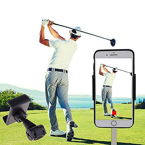 SIZIMA Golf Handyhalter Swing Recording Trainingshilfen - Universal Handy Cliphalter für Golf Trolley, Buggy oder Cart - Auto kopfstützen Halterung - Funktioniert mit jedem Smartphone - Golfzubehör