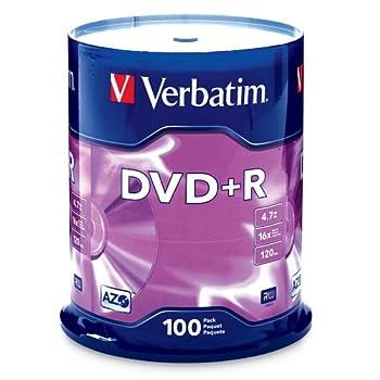 Verbatim DVD+R 4.7GB 16x AZO Recordable Media Disc - 100 Disc Spindle  FFP  - 97459 Branded 100pk Spindle FFP