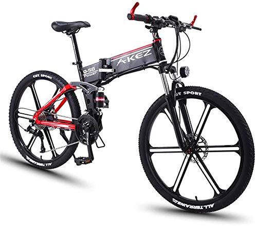 Bicicleta Eléctrica Plegable Bicicleta eléctrica de nieve, bicicleta de montaña eléctrica, 350W 26 '' Ebikes de bicicleta eléctrica con batería de litio de litio de 36V 8Ah y batería de litio de 27 añ