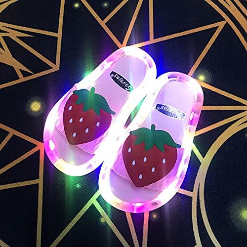 """Hawaianas Mujer Chanclas,Zapatillas Luminosas, Verano Padre-NiñO Fresco Parpadeante Luces Fruta Fresa Sandalias Infantiles Y Zapatillas, Bebé NiñAs Playa BañO BañO Zapatilla-EU 31 (19 Cm / 7.48"""")_ro"""