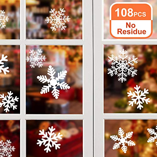 NOCHME Adesivi Fiocchi di Neve per Natale Finestre, 108 PCS Fiocco Neve Statici Si Aggrappa alla Porta di Vetro, Decorazioni per Finestra Vetrina di Natale con Fiocchi di Neve, Adesivi in PVC, Bianco