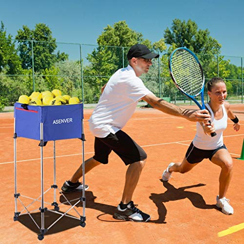 Tennis Cart with Wheels, Tennis Trolley, Portable Tennis Ball Pick Up Basket, Including Tote Multi-Function Loading Cart, Lightweight Tennis Accessories Tennis Ball Cart up to 160 Balls