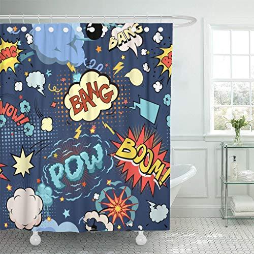 JOOCAR Design Duschvorhang, Cartoon-Comic-Buch-Sprechblasen, Pop-Ballon-Blast, wasserdichter Stoffstoff, Badezimmer-Dekor-Set mit Haken