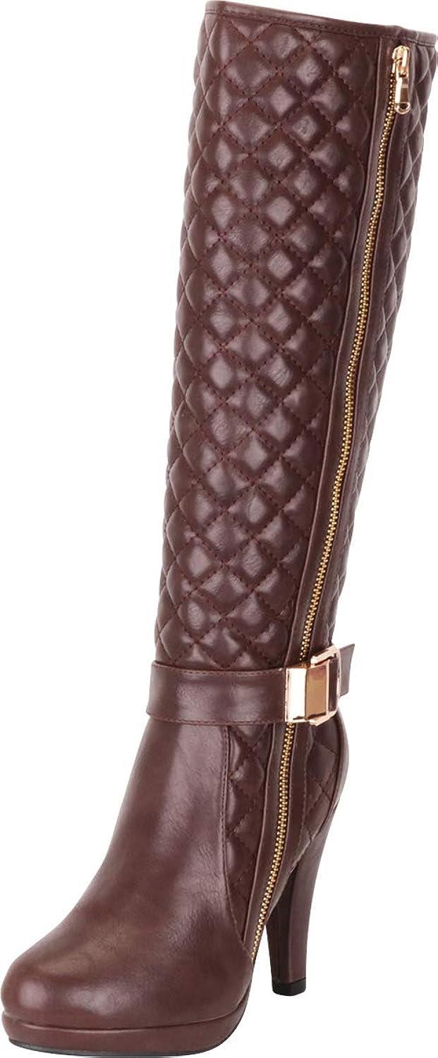 Bottes de genoux à à à talon massif pour garniture féminine de Cambridge  snabba svar
